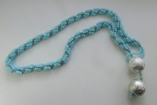 Pale Blue Spiral Necklace