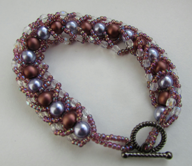 Lilac and Bronze Spiral Weave Bracelet
