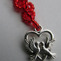 Heart and Dove Bag Charm