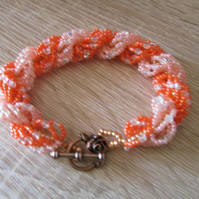 Coral and Peach Beaded Bracelet