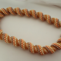 Peaches and Cream Spiral Necklace