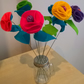 Large Bold and Bright Bouquet 6 Stems Felt Flowers