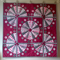 Fab Fans and Circles Patchwork Quilt Wall Hanging Grey Pink Wine