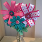 Spotty Dotty and Checked Ribbon and Felt Flowers