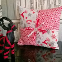 Scandi Christmas Gift Inspired Cushion Red and Grey
