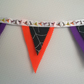 Double Triangle Halloween Bunting in Orange Purple and Black Spider Web Felt