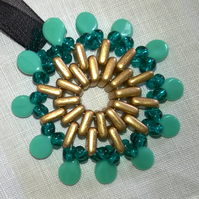 Circular Beaded Flower Pendant Gold and Green