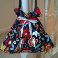Birds Flowers and Cherries Crewel Looking Drawstring Bag Black Red Blue and Tan