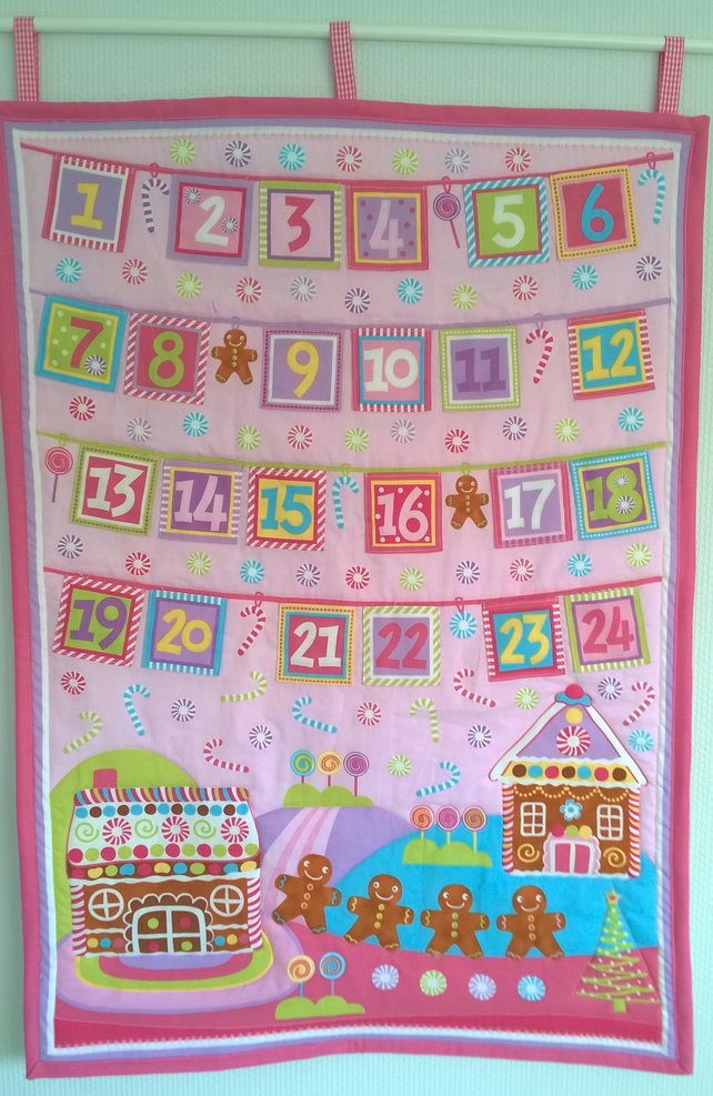 Very Very Candy Pink Fabric Advent Calendar Gingerbread House
