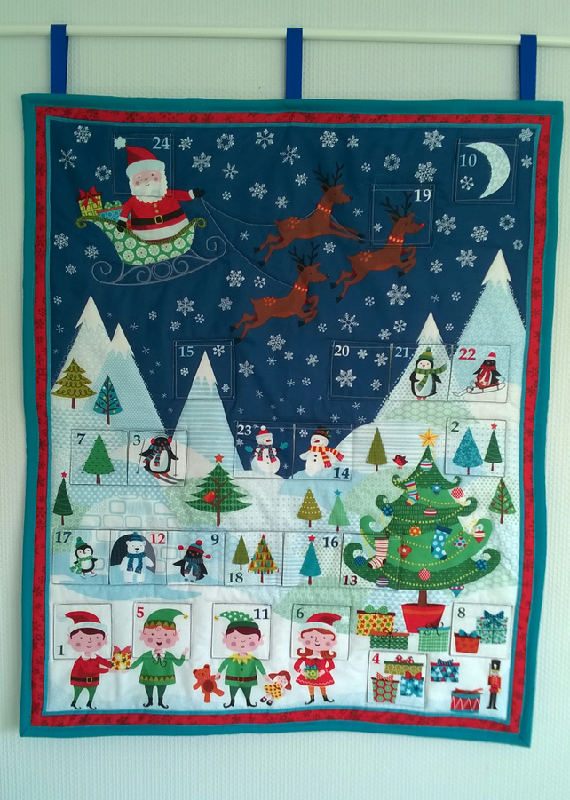 Santa and Elves Advent Calendar Fabric Reuseable