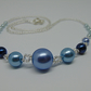Shades of Blue Pearl and Seed Bead Necklace