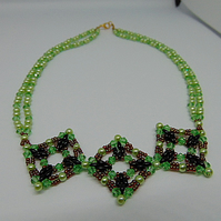 Triple Vintage Argyll Squares Statement Beaded Necklace Green Black