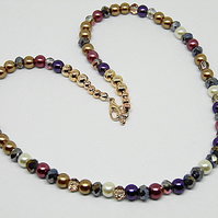 Rich Golden Cranberry Cream and Purple Glass Pearl and Crystal Necklace