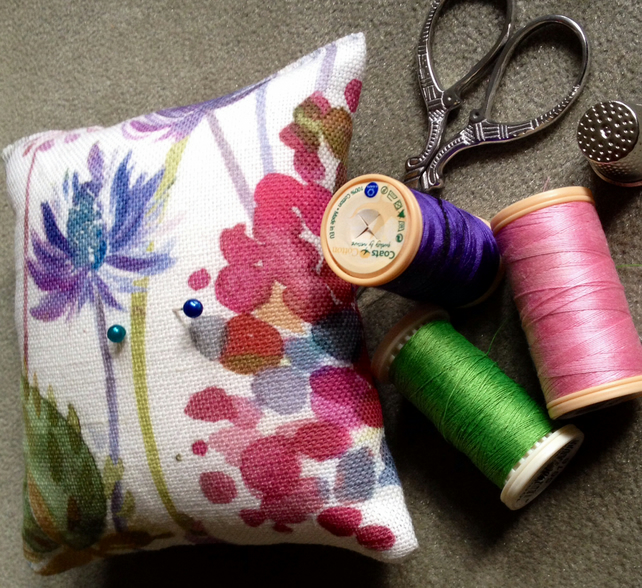 Gorgeous pin cushion in Voyage Hedgerow fabric