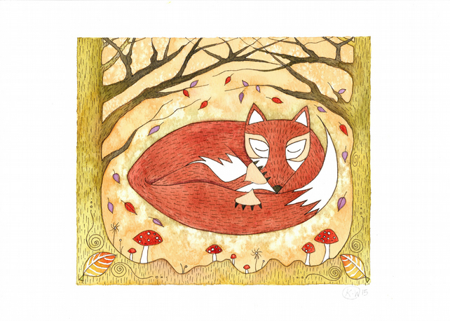 Winter Fox Illustration Print - Sleeping Red Fox Watercolour - Whimsical Signed