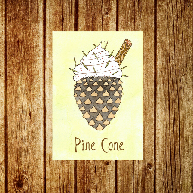 Pine Cone Card - Cute Funny Woodland Ice Cream Card - Autumn Fall Thankgiving
