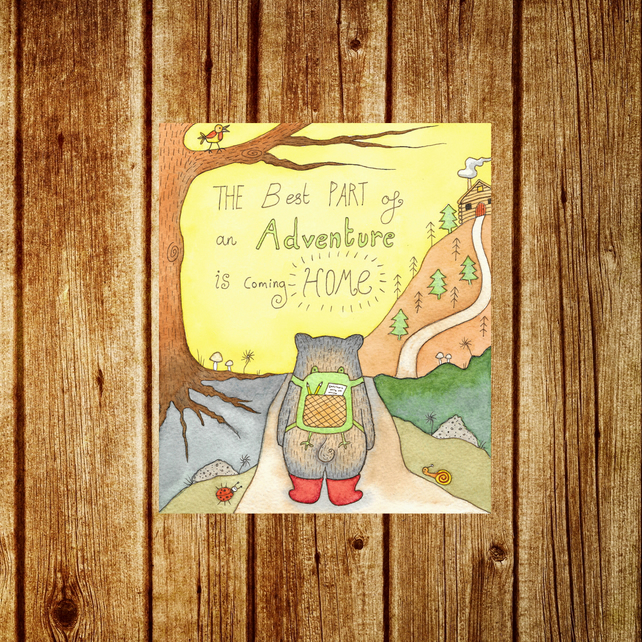Adventure Bear Card - Welcome Home Moving Card - Woodland Forest Animal