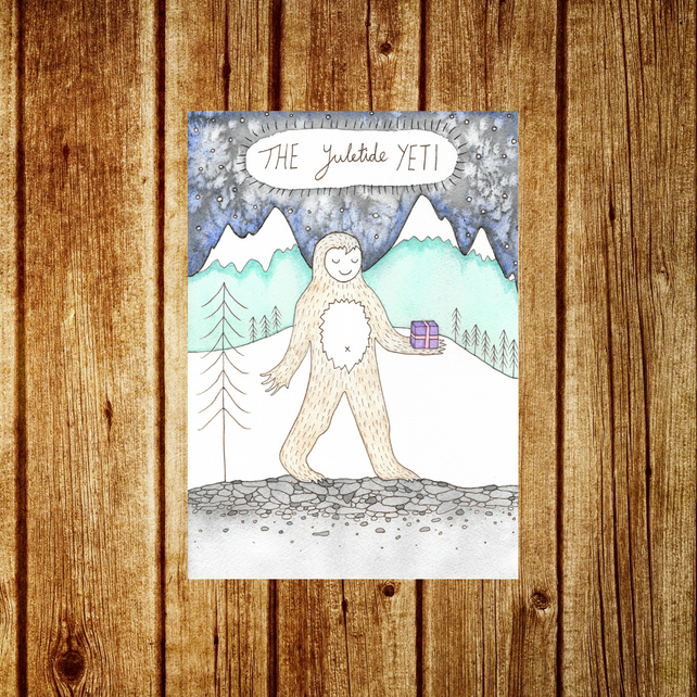 Yeti Card - The Yuletide Yeti Greetings Card - Christmas Winter Solstice Holiday