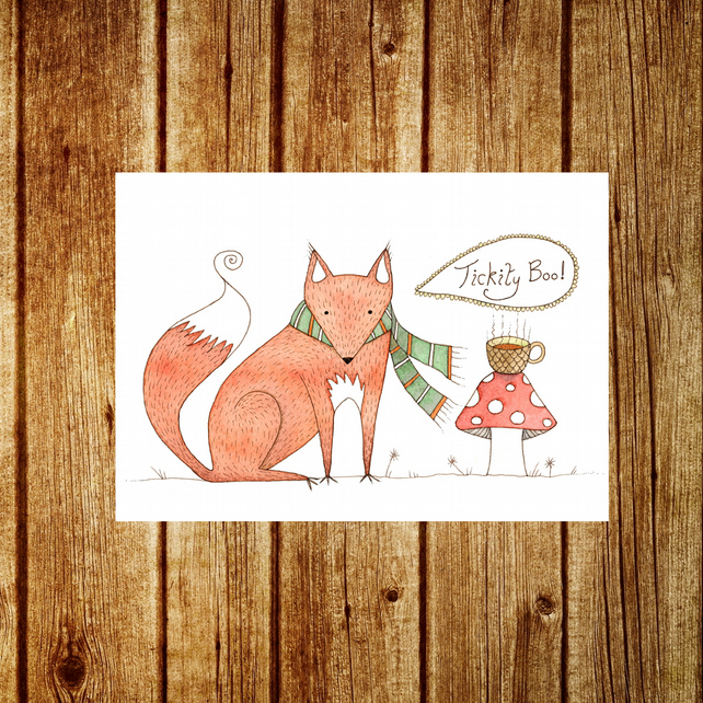 Fox Card - Woodland Animal Birthday Tea Party - Cute Whimsical British Nature