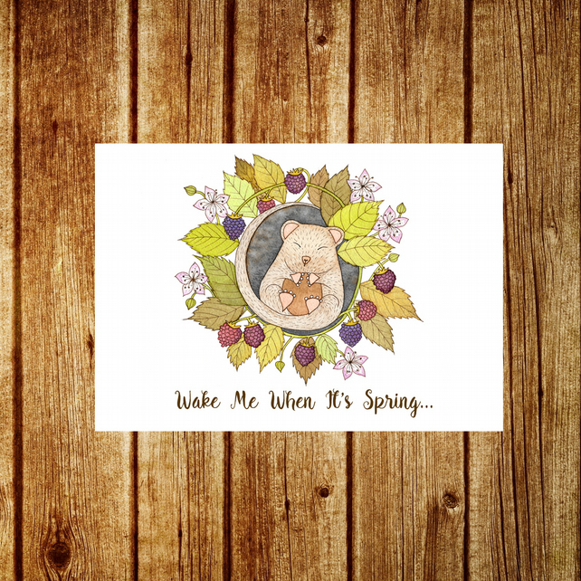 Dormouse Card - Christmas Animals Berries Thanksgiving Autumn Winter Solstice
