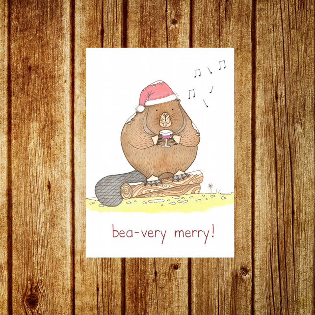 Beaver Card - Merry Beaver Christmas Holiday Funny Pun Card - Woodland Forest