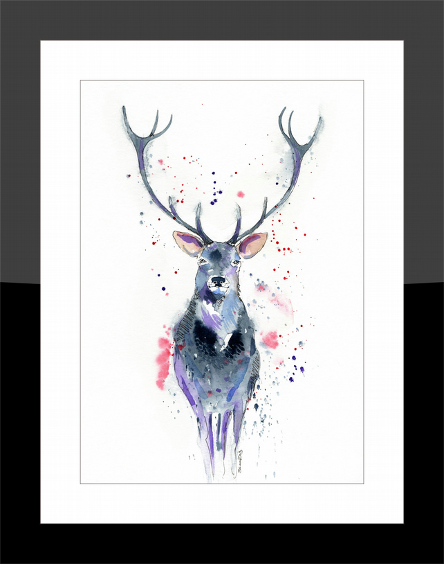 A4 Stag - Print from my Original Watercolour Painting