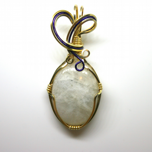 Isla - A Rainbow Moonstone Pendant, Wire Wrapped Pendant, Wire Wrapped Jewellery