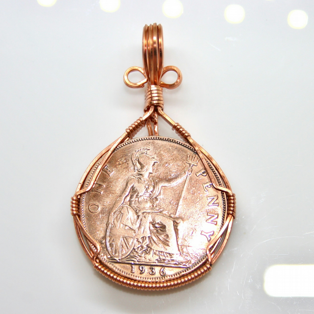 Old Penny Pendant, Wire Wrapped Pendant, Wire Wrapped Jewellery