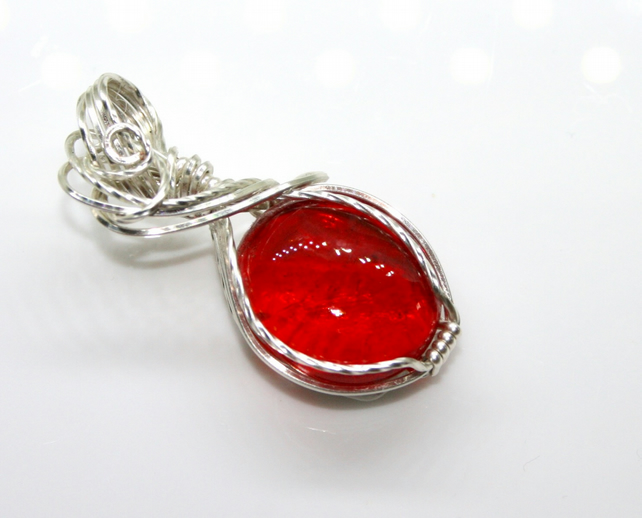 Rachel - A Red Glass Pendant, Wire Wrapped Pendant, Wire Wrapped Jewellery