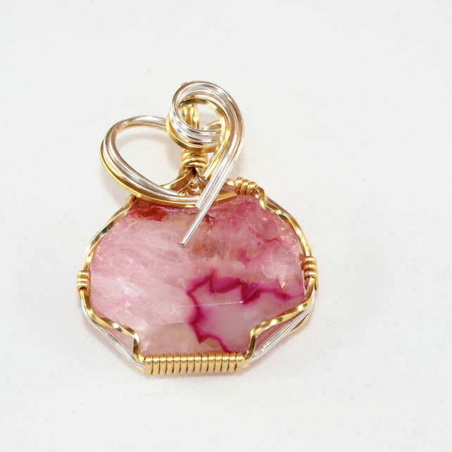 Janice - Pink Agate Pendant, Wire Wrapped Pendant, Wire Wrapped Jewellery