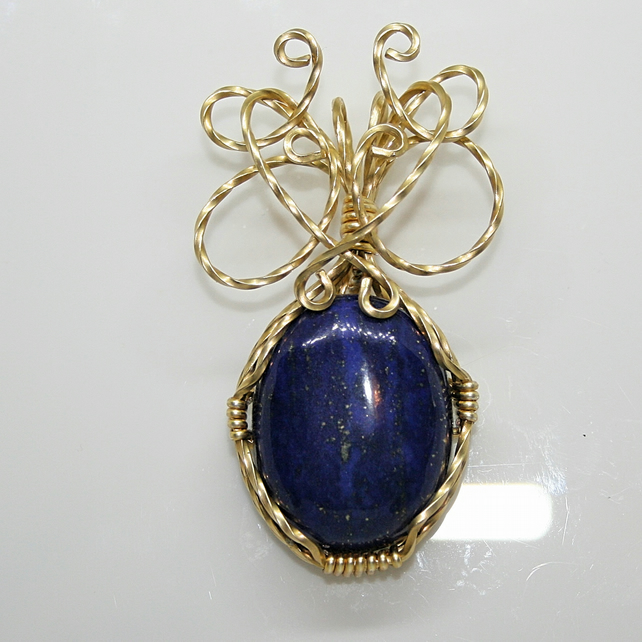 Lauren - A Lapis Lazuli Pendant, Wire Wrapped Pendant, Wire Wrapped Jewellery
