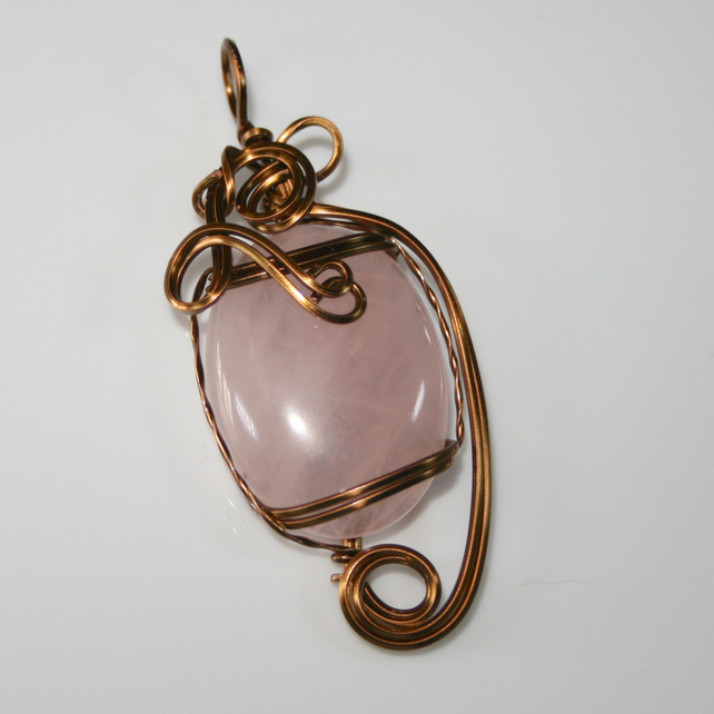 Therese - A Rose Quartz Pendant, Wire Wrapped Pendant, Wire Wrapped Jewellery