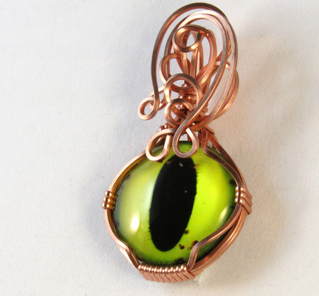 Nimble - A Dragon Eye Pendant, Wire Wrapped Pendant, Wire Wrapped Jewelry