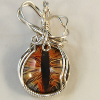 Lithya - A Dragon Eye Pendant, Wire Wrapped Pendant, Wire Wrapped Jewellery