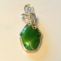 Claire - Green Agate Pendant, Wire Wrapped Pendant, Agate Jewelry