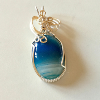 Wendy - Blue Agate Pendant, Wire Wrapped Pendant, Agate Jewelry