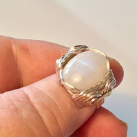 Rainbow Moonstone Ring US 8 - UK P, Wire Wrapped Ring, Moonstone Jewelry