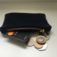 Suede Navy Coin Purse