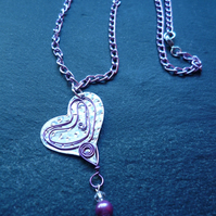 Heart necklace with wirework decoration and glass pearl drop