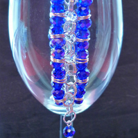 Deep blue chainmaille bracelet