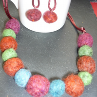 Lightweight, hand felted necklace