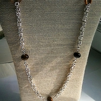 Chainmaille necklace with Tigers eye