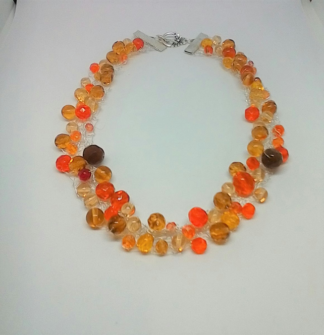 Knitted wire necklace with beads