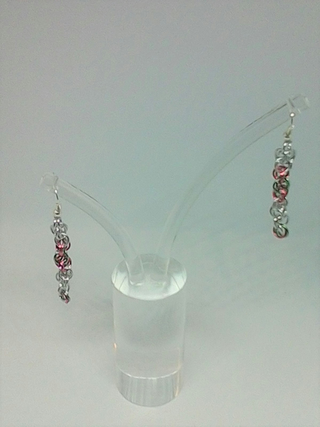 Candy stripe chainmaille earrings