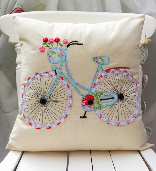Applique Cushion Cover Pillow Case Bicycle Natural Cath Kidston & Other Red Blue
