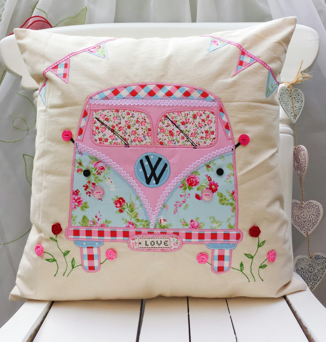 Camper Van Applique Cushion 16x16 Cover Pillow Case Natural Red Blue Handcrafted