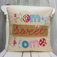 Home Sweet Home pillow Cushion Cover Fabric Handmade Applique Linen Cath Kidston