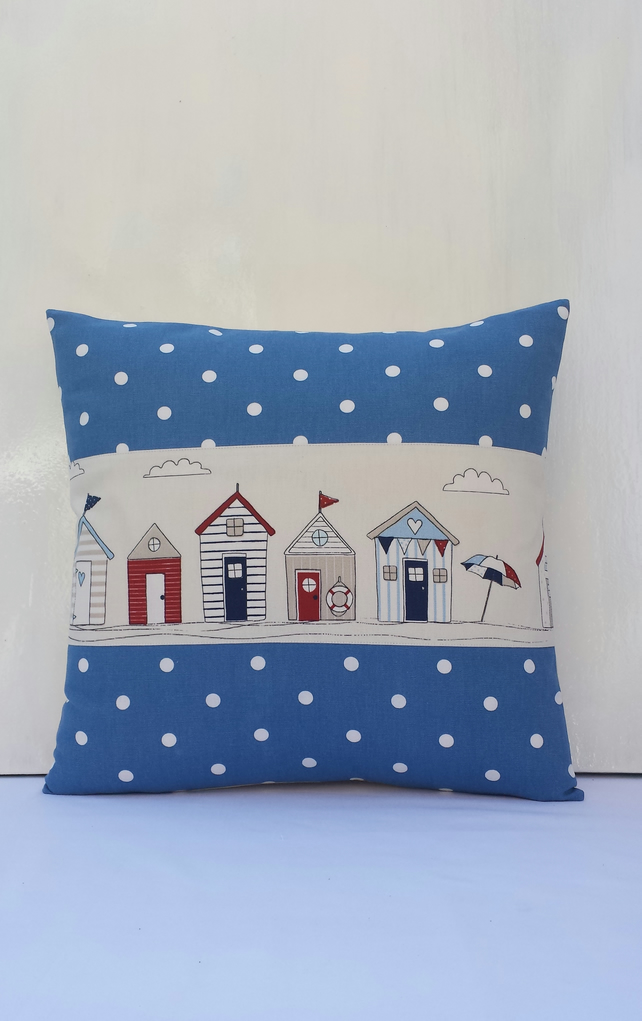 Nautical Cushion cover 16x16 Beach hut cushion Spotty pillow beige,blue,red,navy