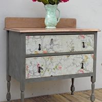 Vintage Oak Topped Two Drawer Chest of Drawers, Painted Furniture Annie Sloan