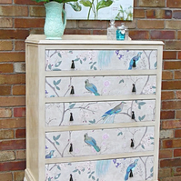 Now Sold - Vintage Queen Anne style Chest of Drawers, renovated, painted